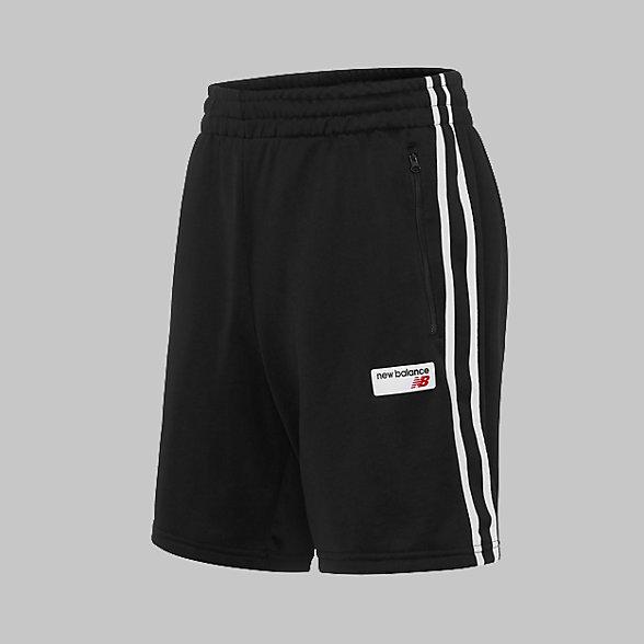 New Balance 男款針織休閑條紋拼接短褲, AMS91558BK