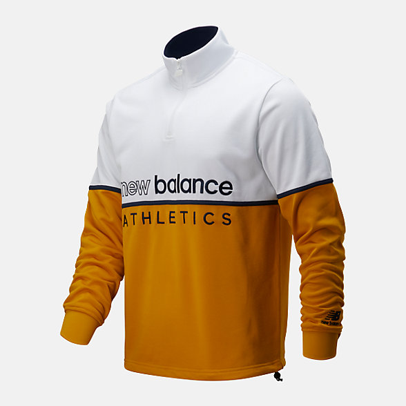 New Balance 男款半拉链拼接立领外套, AMT01506VGL