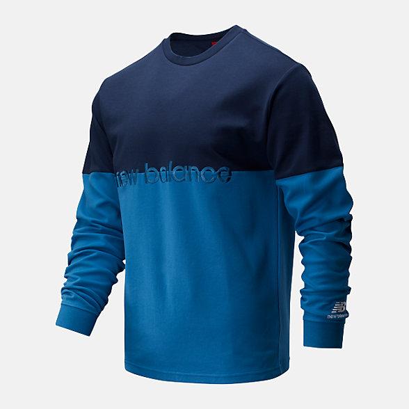 New Balance 男款拼接套头长袖T恤, AMT01507NGO