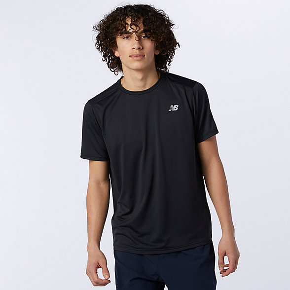 New Balance 男款速干运动短袖T恤, AMT03203BK