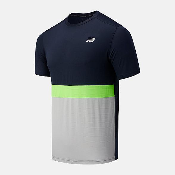 New Balance 男款条纹拼接速干短袖T恤, AMT03207EM1
