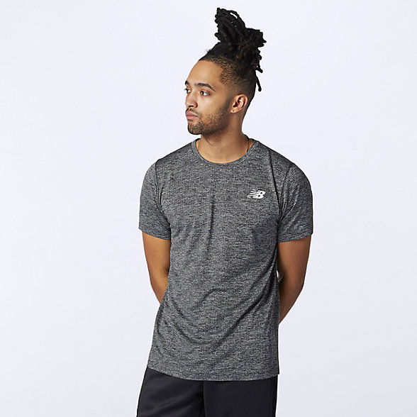 New Balance 男女同款速干运动短袖T恤, AMT11095BKH