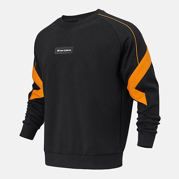 New Balance 男款休闲圆领套头卫衣, AMT11326BK