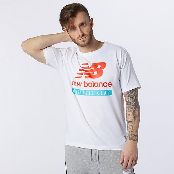 New Balance 男款圆领印花logo短袖T恤, AMT11517WT