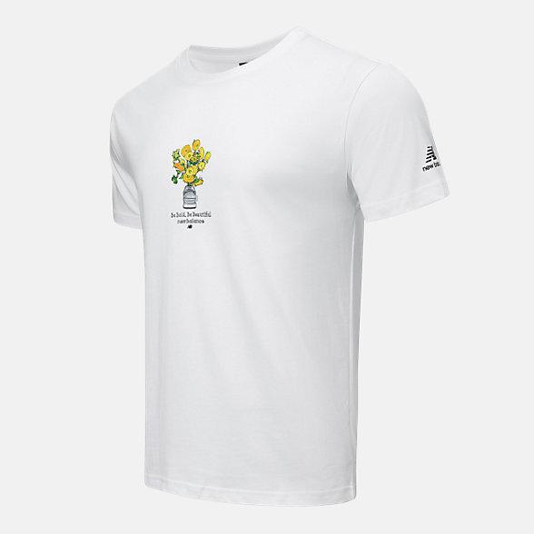 New Balance 男女同款印花短袖T恤, AMT12344WT