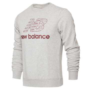 New Balance 男款针织套头卫衣 舒适面料 运动休闲, AG