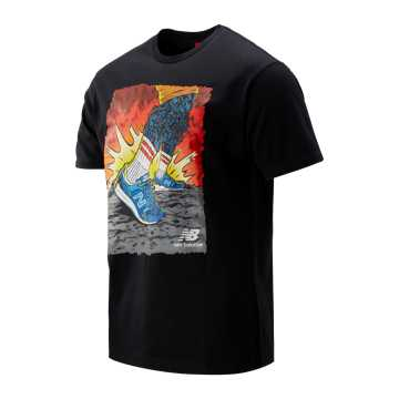 New Balance 男女同款997创意印花短袖T恤, BK