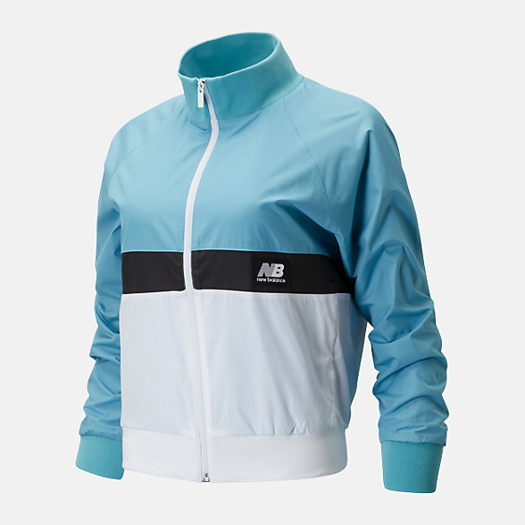 New Balance 女款拼接立领梭织外套, AWJ01504WAX