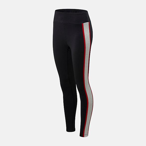 New Balance 女款撞色拼接条纹紧身裤, AWP01503BM