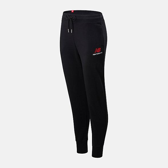 New Balance 女款抽绳束脚针织长裤, AWP01508BK