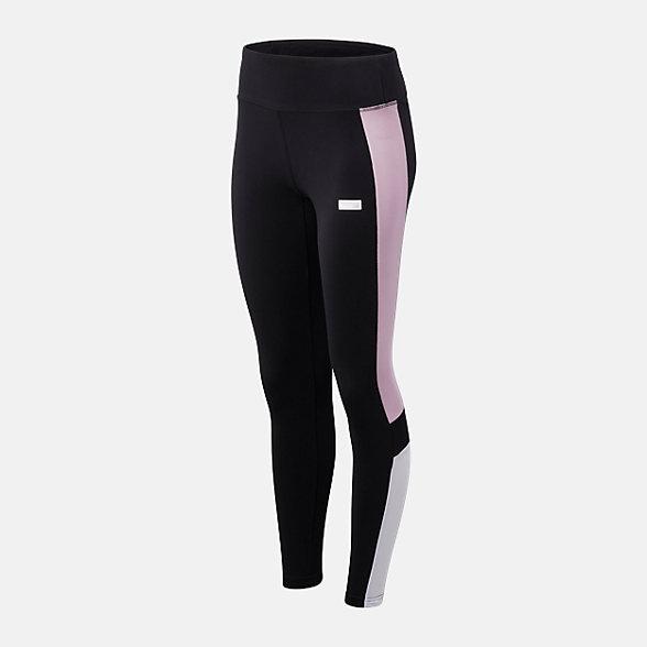 New Balance 女款撞色条纹休闲紧身裤, AWP93505BKW
