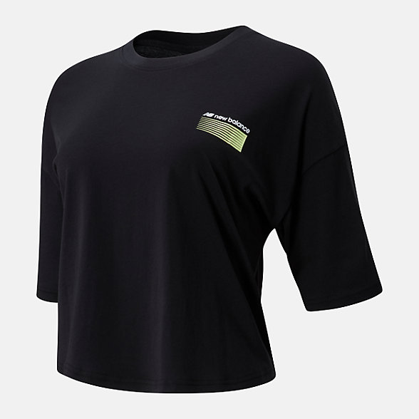 New Balance 女款不规则印花短袖T恤, AWT01525BK