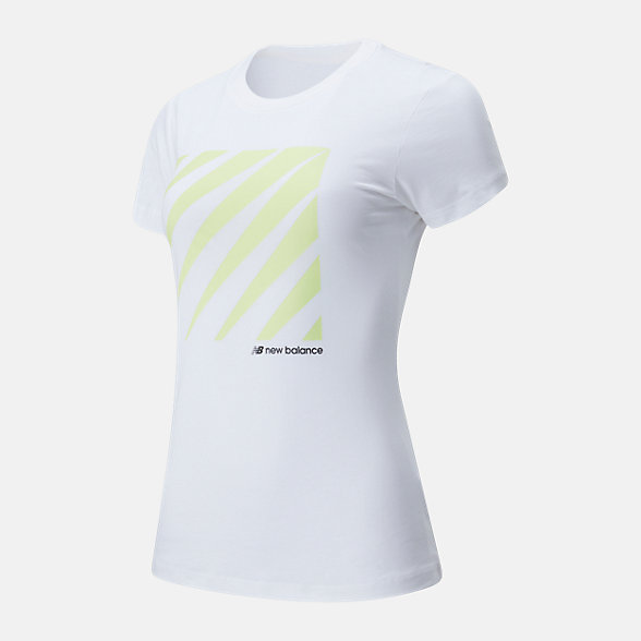 New Balance 女款不规则印花短袖T恤, AWT01526WT