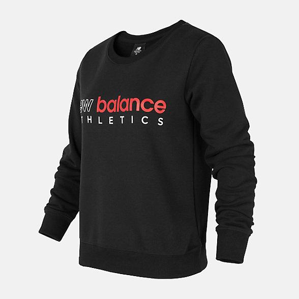 New Balance 女款圓領套頭衛衣, AWT01559BK