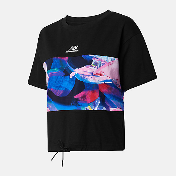 New Balance 女款印花短袖T恤, AWT12328BK