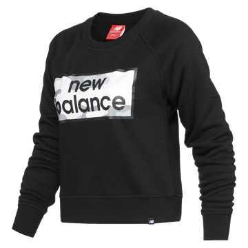 New Balance 女款圆领卫衣 舒适面料 运动休闲, BK