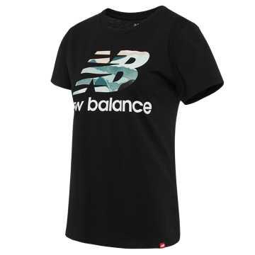 New Balance 女款印花休闲短袖T恤, BK