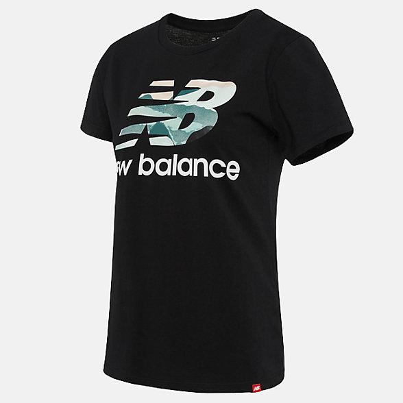 New Balance 女款印花休闲短袖T恤, AWT91584BK