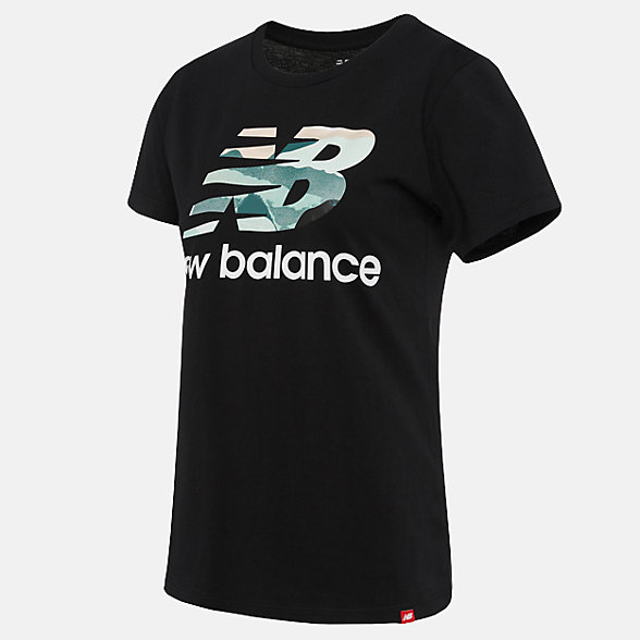 New Balance 女款印花休閑短袖T恤, AWT91584BK