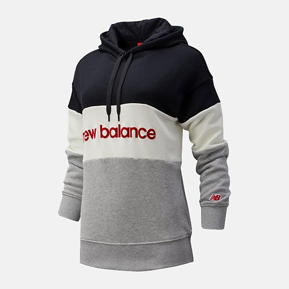 New Balance 女款撞色拼接连帽卫衣, AWT93532BK