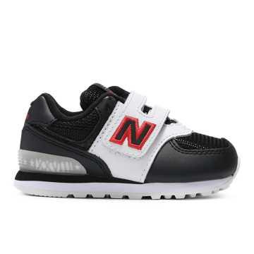 New Balance 经典574系列儿童休闲运动鞋 魔术贴搭袢, 黑色/白色