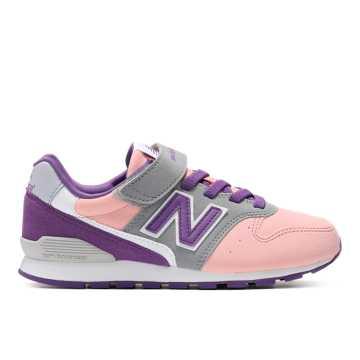 New Balance 996系列儿童休闲运动鞋 松紧粘扣 后跟稳固, 粉色/灰色/紫色
