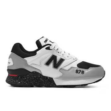 New Balance 878系列男女同款復古休閑運動鞋 經典復古 避震舒適, 黑色/銀色/米白色