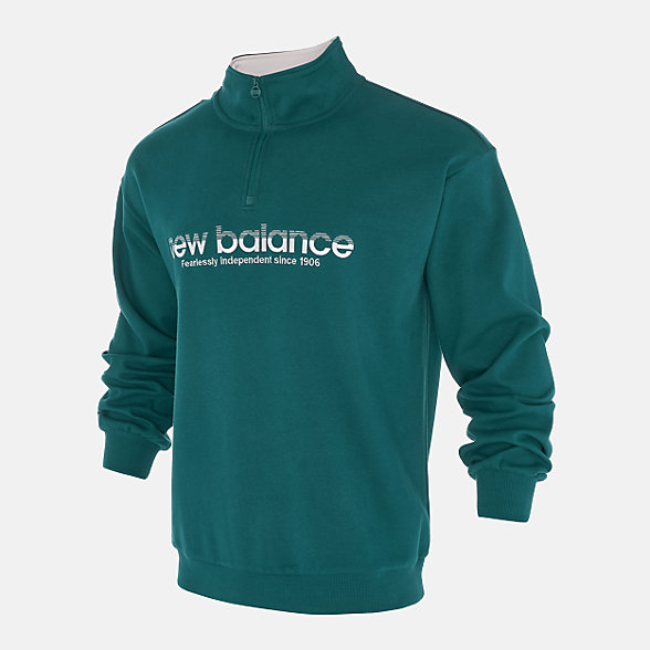 New Balance 男款复古立领套头卫衣, NCA33021GRN