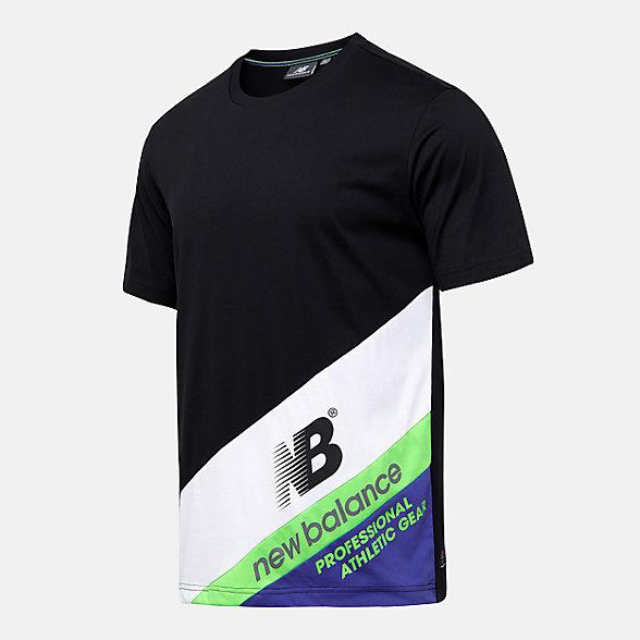 New Balance 男款撞色拼接短袖T恤, NEA25021BK
