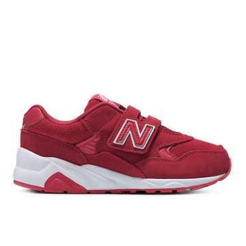 New Balance 580系列儿童休闲运动鞋 加宽魔术贴 贴合脚背, 红色