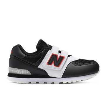 New Balance 574系列儿童经典休闲运动鞋 魔术贴搭袢款, 黑色/白色
