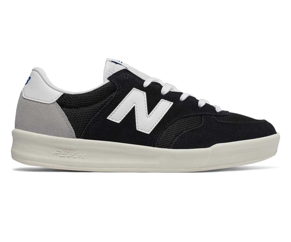 NB 300 Suede, Black with White