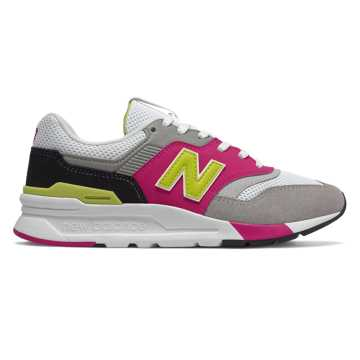 New Balance 997H, White with Pink & Yellow