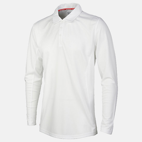 New Balance Cricket Long Sleeve Polo, EMT7020WT