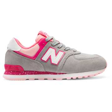 New Balance 574, Grey with Pink Zing