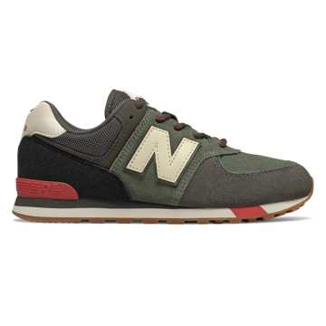 New Balance 574, Camo Green with Team Red