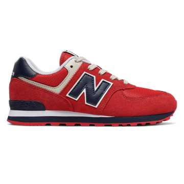 New Balance 574, Red with Navy