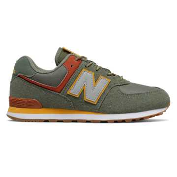 New Balance 574, Slate Green with Red Jasper