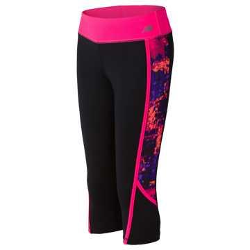 New Balance Fashion Performance Capris, Black with Alpha Pink