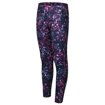 New Balance Pieced Performance Tights, Purple with Pigment