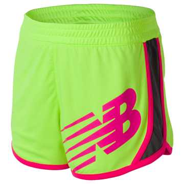 New Balance Reversible Short, Lime Glo with Thunder & Alpha Pink