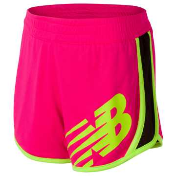 New Balance Reversible Short, Alpha Pink with Black & Lime Glo