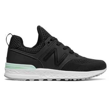 New Balance 574 Sport, Black with Seafoam