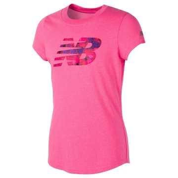 New Balance Short Sleeve Graphic Tee, Alpha Pink Heather