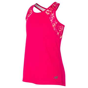 New Balance Fashion Performance Tank, Pomegranate with Pink