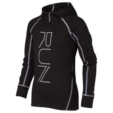 New Balance Long Sleeve Hooded Performance Top, Black