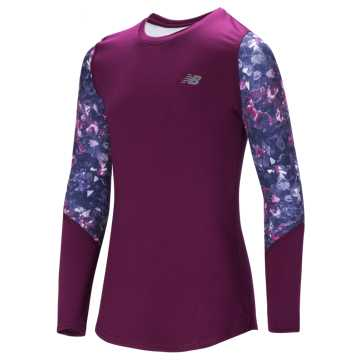 New Balance Long Sleeve Performance Top, Purple with Pigment