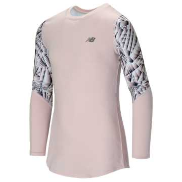 New Balance Long Sleeve Performance Top, Pink with Pigment