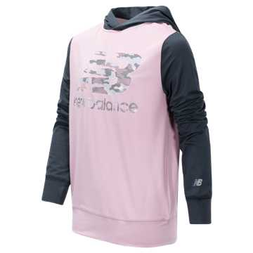 New Balance Hooded Pullover, Oxygen Pink with Thunder