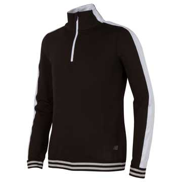 New Balance Long Sleeve Quarter Zip Performance Top, Black with White